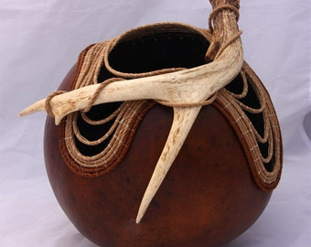 Antler Gourd with Fossils -Item 744 by Susan  Ashley