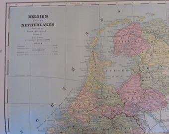 1891 Map- Belguim, Netherlands/Sweden, Norway- Atlas Page 21 x 14.5 in Great for Framing