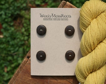 4 Black Walnut Wood Buttons- Handmade Wooden Buttons- Eco Knitting Supplies, Eco Craft Supplies