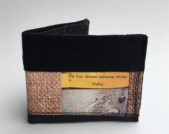 Bifold wallet, fabric wallet, men's wallet, recycled wallet, handmade wallet
