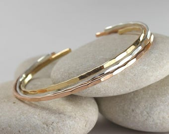 3 Thin Hammered Cuffs, mixed metal bangle set, custom size stacking cuffs