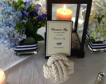 8-14 Rope Table Number Holders - 3.75 inch - Off White or Brown - You Choose - Nautical Wedding - Rope Table Numbers - Table Number Holders