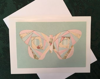 """Butterfly, Note card 5"""" x 7"""", inside blank, hand crafted, Iris paper folding technique"""