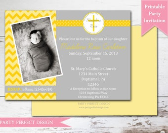 Yellow and Gray Chevron Baptism invitation First Communion Announcement - Print Your Own