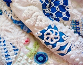 CAROLINA TIDES - a Made-To-Order Vintage Cotton Chenille Patchwork Quilt