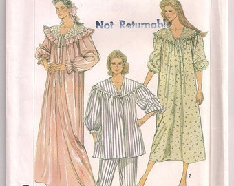 Simplicity 7185 Adult Sleepwear Flannel Pajamas or Nightgown vintage pattern long gown, Size Small 10 - 12