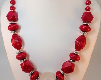 80s Bold raspberry red Lucite matinee Necklace/Earrings