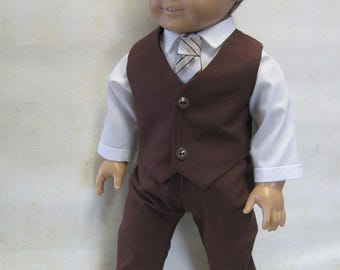 "Brown Dress Suit for Logan and Other 18"" Boy Dolls"