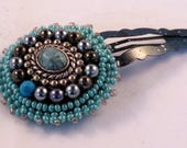 Turquoise blue Snap Hair Clip, Bead Embroidery, bead weaving, blues, silver