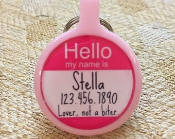 """Small/Large Silent & Lightweight Eco-Plastic Hello My Name Is"""" Silver Pet ID Tag"""