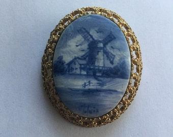 Vintage Delft blue Windmill Scene Pin PendantSigned Molnix