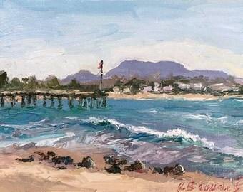 Original Oil Painting, palette knife, california art, Ventura, Landscape, IMPRESSIONIST ART, beach decor