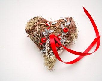 heart ring bearer pillow, silver red ring bearer pillow, woodland winter rustic wedding, red silver wedding party decor, flower girls