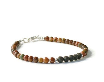 Red Creek Jasper and Lava Rock Essential Oil Diffuser Bracelet, Aromatherapy Jewelry