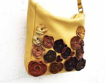 Yellow Leather Bag Leather Messenger Purse Rustic Harvest Leather Floral Applique Spring Fashion