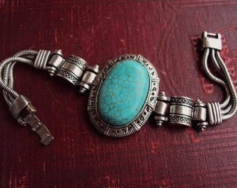 Vintage Faux Turquoise Stone Bracelet Medallion Silver Plate Ornate South Western Style Boho Bohemian Chic Gypsy Hipster Statement Chunky