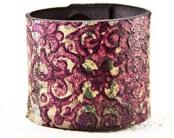 Floral Purple Leather Jewelry For Women Cuffs Bracelets