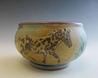Round Soup Bowl Black Leopard Appaloosa Horses in Mountains