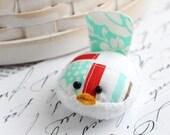 Red and Aqua Bird Pincushion Pin Keep Small Pin Cushion Handmade Pincushion