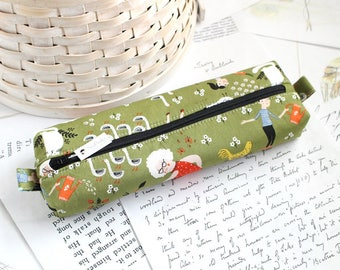 Green Gardening Floral Pencil Case Cute Pencil Case Boxy Pouch Floral Zipper Pouch