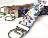Rifle Paper Co. Key Fob Les Fleurs Fabric Rosa Floral: Navy, Periwinkle (Light Blue), Peach