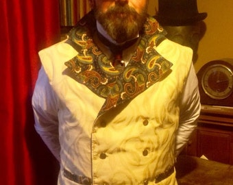 "Steampunk Classic Sweeny Todd  Cream and Paisley Waistcoat 40"" - 45"" Chest."