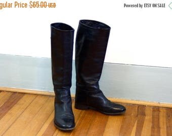 Spring SALE 25% Vintage Black Leather Riding Boots Tall Equestrian Boot Laboratorigarbo Made in Italy Soft Italian Ladies Horse Riding Shoe