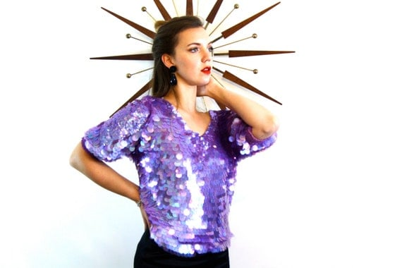 Vintage 70s Full Sequin Disco Blouse 100% SILK Lilac Purple Huge Iridecent Sequins 1970s Flashy Shirt Studio 54 Loud Sexy Statement Top