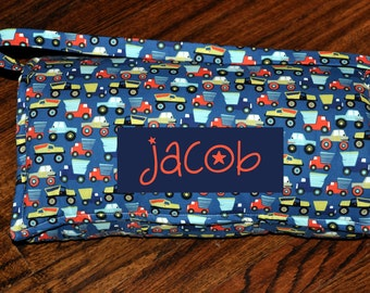 Nap Mat - Monogrammed Little Movers Nite Construction Trucks Nap Mat with a Turquoise Minky Dot Blanket