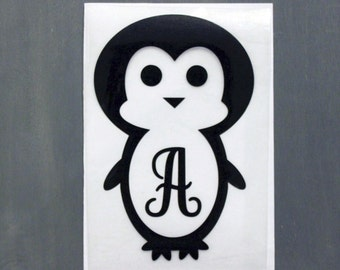 Penguin Decal - Personalized Penguin Decal - DIY Vinyl Decal - Iron on Decal - Heat Transfer Decal - Penguin Monogram Decal
