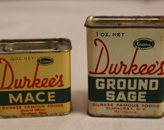Vintage Durkee's Mace and Ground Sage Spice Tins