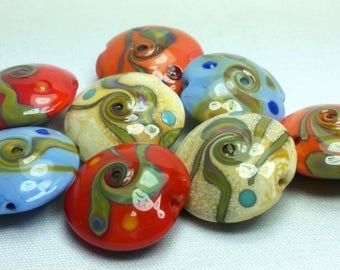 Lot of 8 Murano glass beads different colors