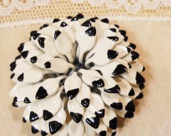 Black White Flower Pin Brooch Vintage 1960s enamel