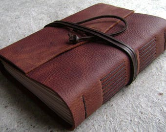 """Chunky leather journal, 384 pages, 5.5""""x 7.5"""" pages, distressed brown, old world journal, travel journal, sketchbook, (2539)"""