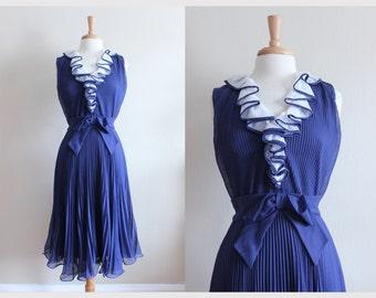 1960s Dress / Vintage Miss Elliette Navy Ruffle Front Party Dress