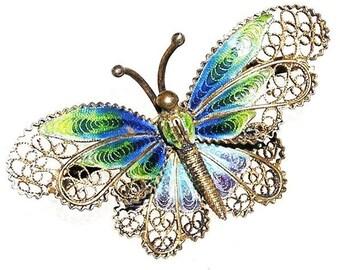 Art Nouveau European Blue Plique-a-jour Butterfly Figural Brooch