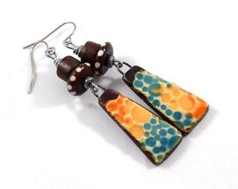 Handmade Earrings, Ceramic Earrings, Rustic Orange Brown and Turquoise Earrings, Artisan Earrings, Boho Earrings, Silver Earrings, AE207