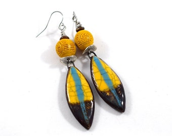 Yellow, Brown and Turquoise Ceramic Earrings, Ceramic Earrings, Artisan Earrings, Boho Earrings, Silver Earrings, Yellow Earrings, AE213