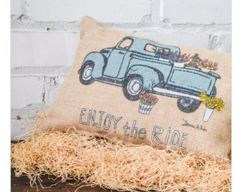 SHOP HOP DEAL Old pick up truck burlap pillow