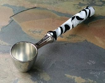 Coffee Scoop with Hand Turned Black and White Acrylic Handle - Loose-Leaf Tea Scoop - Gift for Christmas, Birthday, Weddings, Housewarming
