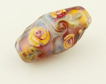 Lampwork  Bead, Glass Rose Floral Focal, Pink and Orange Flowers 'Peace Rose'