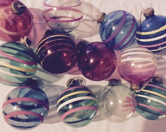 "Antique 1930's hand painted Christmas glass balls ornaments multiple color blue pink stripe Christmas decorations vintage 3"" with paper caps"