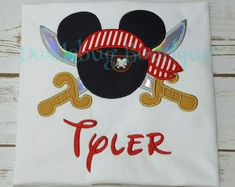 Mickey Mouse pirate shirt with FREE name