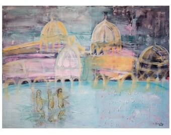 Fine Art Print, Landscape Print Giclee Art, blue pink gray, turquoise, decor modern, wall art, by Ana Gonzalez