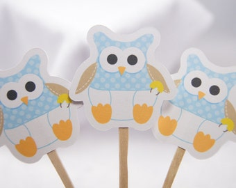 Baby Boy Owl Cupcake Toppers Food Picks Party Picks - set of 12 - wip baby