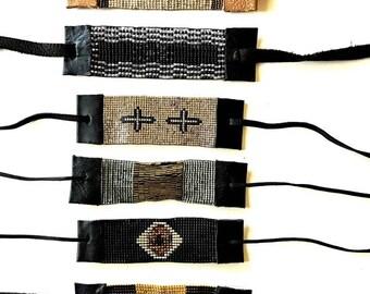 Beaded Hand Woven black/silver boho style Bracelet, leather, birthday, anniversary, gift, graduation
