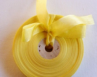 Vintage 1930's-40's French Woven Ribbon -Milliners Stock- 5/8 inch Daffodil Yellow