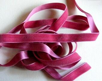Vintage 1930's Silk Charmeuse Velvet Ribbon 5/8 Inch Raspberry Pink