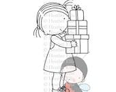 PI 076 Digital stamp, instant download, Digi Stamp, Pure Innocence, Crafting, Present, Presents, Christmas