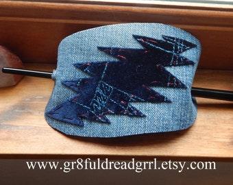 US Blues Grateful Dead Blue Velvet Bolt Barrette Holder Hair Band Clip